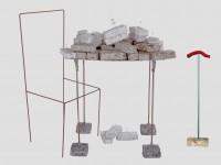 Dialoogtafel:  Wankele constructie op betonblokken, poten van betonijzer, versterkt met wokkels. Verpulpte dossiers en witgewassen, geheime, verzegelde documenten + Art-Schok Simulator: Hout/papier. Door een zachte duw tegen de dialoogtafel te geven simuleert u een aardbeving van 3.6 op de schaal van Richter